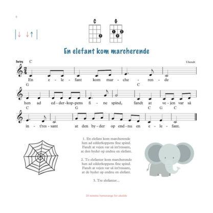 nodeeksempel i ukulele børnesangbog.