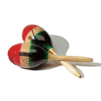 2 stk maracas i rød, grøn og natur