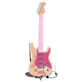 Legetøjselguitar i pink med headset og rem