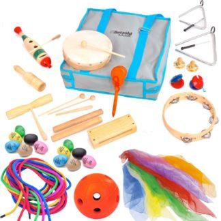 Taske med musikinstrumenter og rytmikredskaber