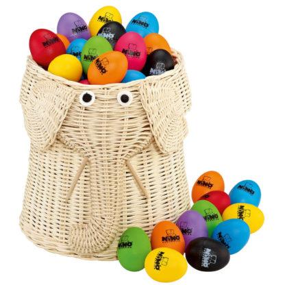 80 rasleæg i friske farver i opbevaringskurv