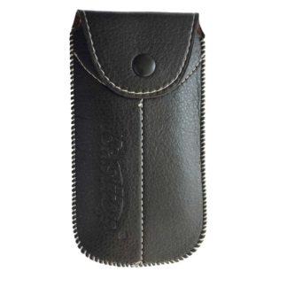 Sort lædertaske til mundharmonika