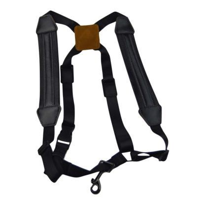 Saxofonsele i sort læder og nylon