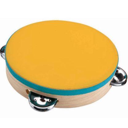 Håndtromme med gult gummiskind inkl. tambourin