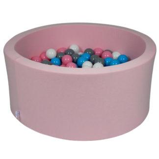 boldbassin i rosa med bolde. Bassinnet måler 90x40 cm