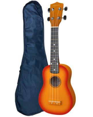 ukulele i sunburst farve med taske til