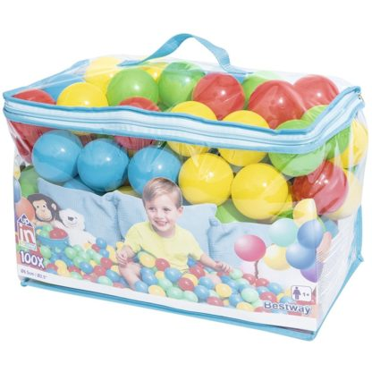100 plastikbolde i farver