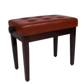 Brun klaverbænk mahogni med sæde i kunstlæder
