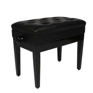 Sort klaverbænk hi-gloss med nodemagasin og sæde i kunstlæder