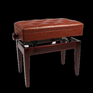 Mahogni klaverbænk hi-gloss med nodemagasin og sæde i kunstlæder