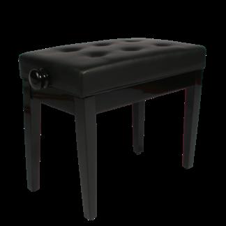 Sort klaverbænk hi-gloss med sæde i kunstlæder