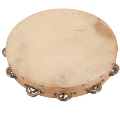 tamburin af træ med naturskind