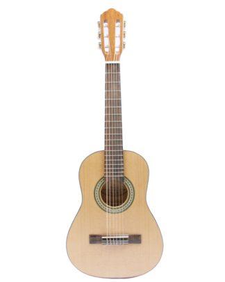 halvstørrelses junior guitar i massiv træ med nylonstrenge