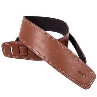 brun læderrem til guitar og bas