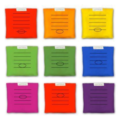 9 ærteposer med noder og nodesystem i 7 forskellige farver