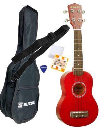 Suzukis pakkeløsning med sopranukulele taske og tilbehør