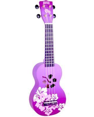 blomstret ukulele i lilla