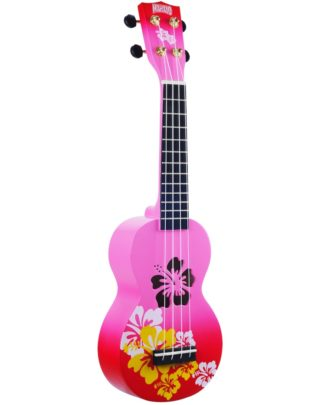 rosa ukulele med blomster