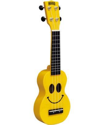 glad ukulele i solskinsgul med smily